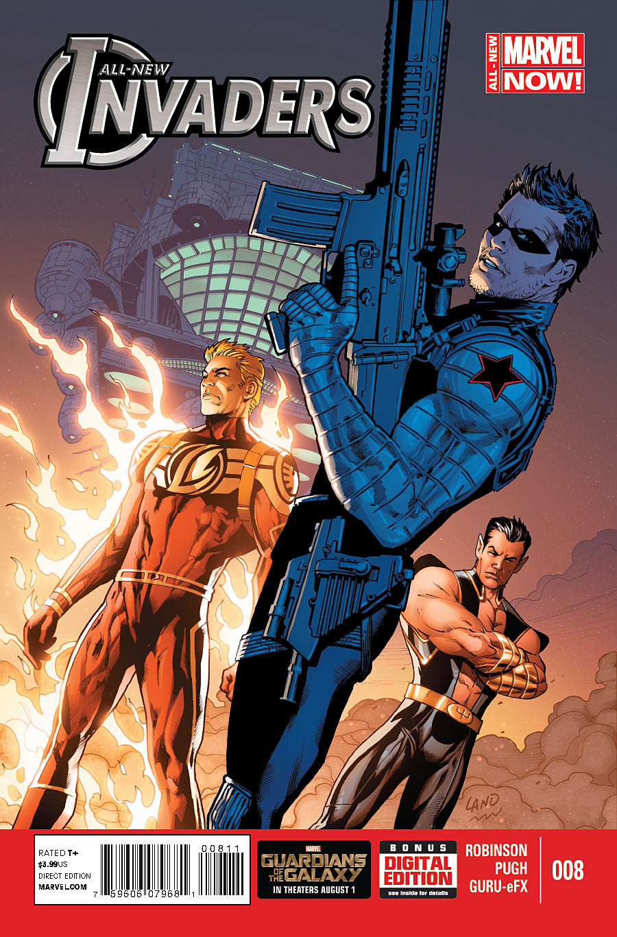 Copertina di All-New Invaders 8 del 2014. di Greg Land e Nolan Woodard