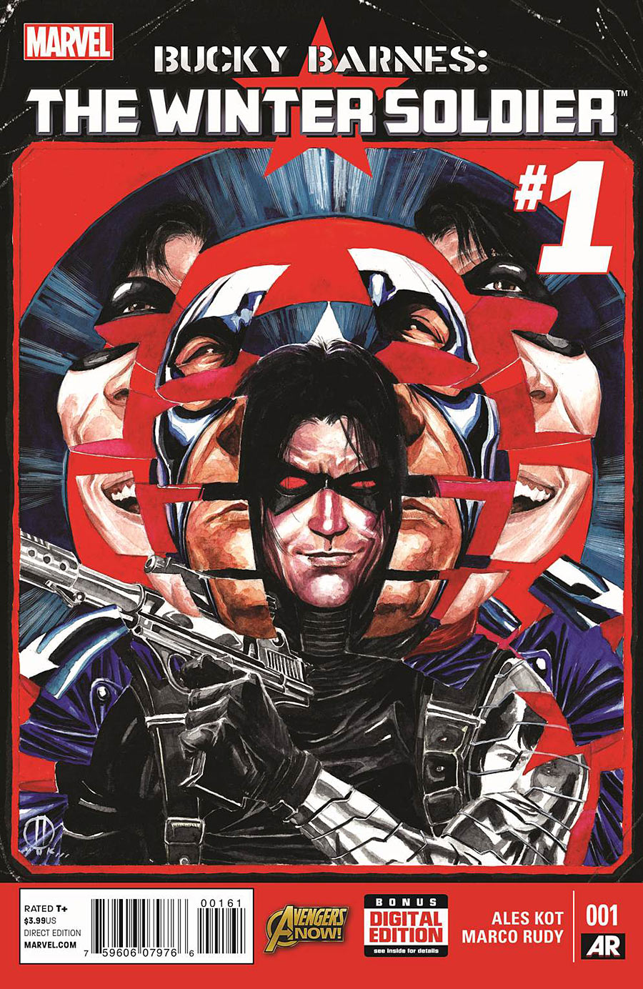 Copertina di Bucky Barnes: The Winter Soldier 1 del 2014, di Marco Rudy