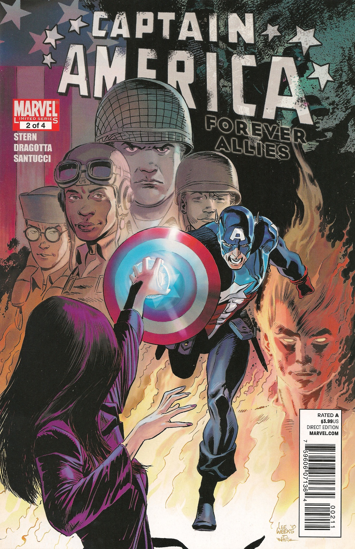 Copertina di Captain America: Forever Allies 2 del 2010, di Lee Weeks e Dean White
