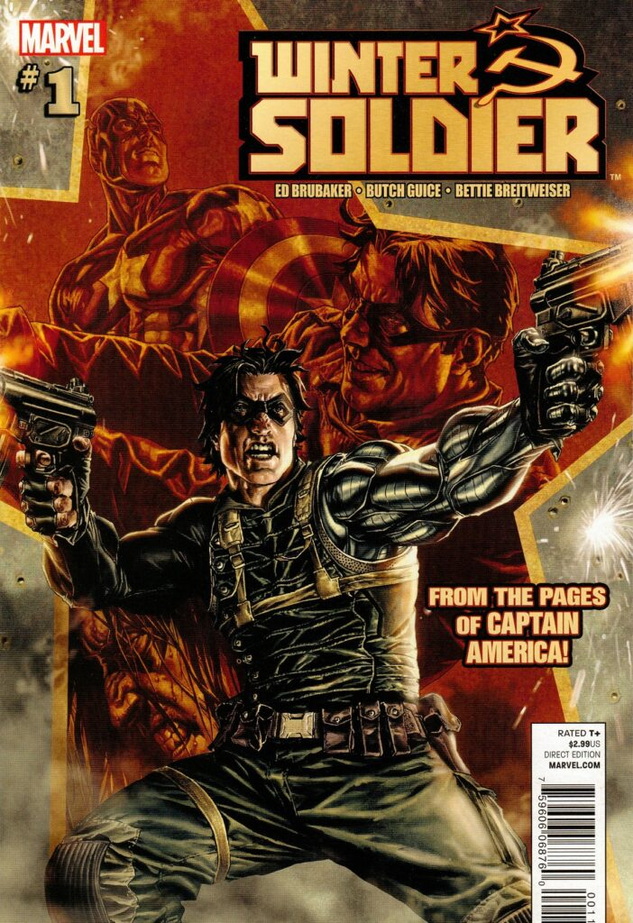 Copertina di Winter Soldier 1 del 2012 di Lee Bermejo con il protagonista del primo episodio di The Falcon and the Winter Soldier