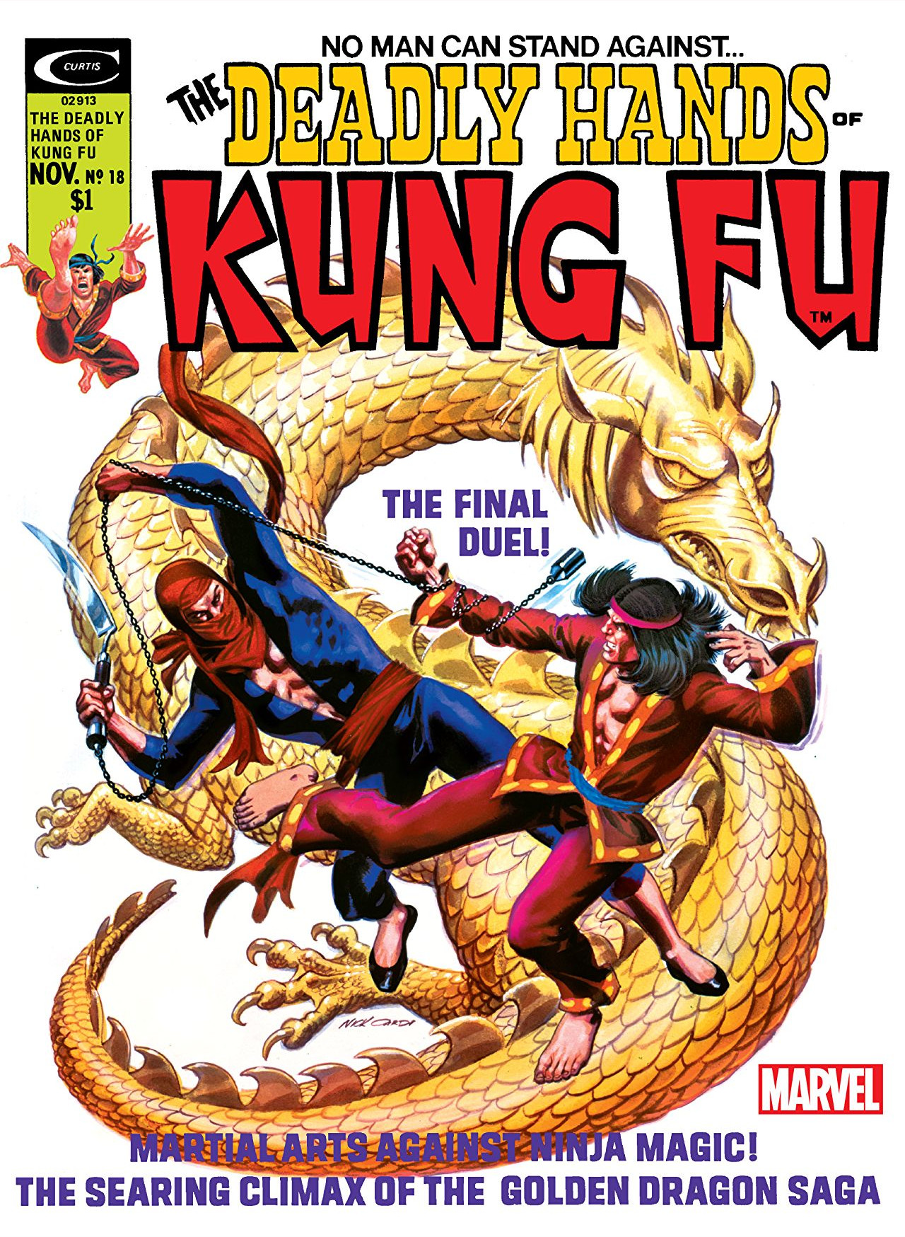 Cover di Deadly Hands of Kung Fu 18 del 1975, di Nick Cardy